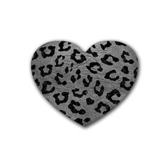 Skin5 Black Marble & Gray Leather Heart Coaster (4 Pack)