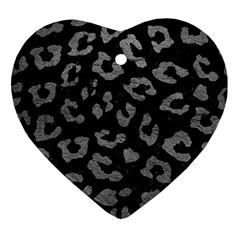Skin5 Black Marble & Gray Leather (r) Ornament (heart)