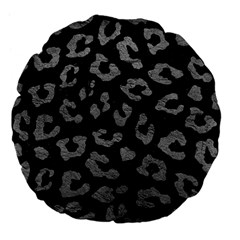 Skin5 Black Marble & Gray Leather (r) Large 18  Premium Flano Round Cushions