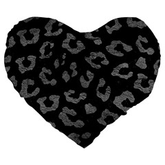 Skin5 Black Marble & Gray Leather (r) Large 19  Premium Flano Heart Shape Cushions