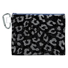 Skin5 Black Marble & Gray Leather (r) Canvas Cosmetic Bag (xxl)