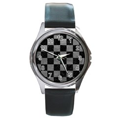 Square1 Black Marble & Gray Leather Round Metal Watch