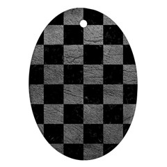 Square1 Black Marble & Gray Leather Ornament (oval)