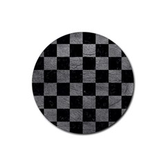 Square1 Black Marble & Gray Leather Rubber Round Coaster (4 Pack)