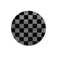 Square1 Black Marble & Gray Leather Magnet 3  (round)