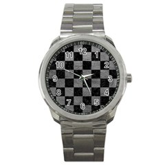 Square1 Black Marble & Gray Leather Sport Metal Watch