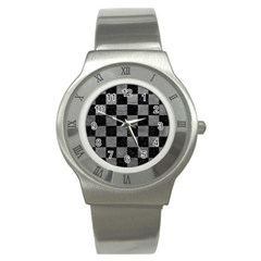 Square1 Black Marble & Gray Leather Stainless Steel Watch