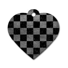 Square1 Black Marble & Gray Leather Dog Tag Heart (one Side)