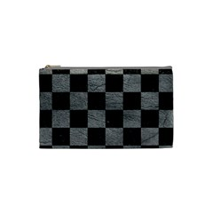 Square1 Black Marble & Gray Leather Cosmetic Bag (small)