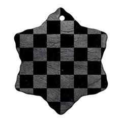 Square1 Black Marble & Gray Leather Ornament (snowflake)