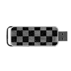 Square1 Black Marble & Gray Leather Portable Usb Flash (one Side)