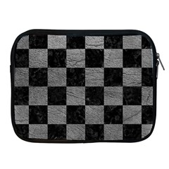 Square1 Black Marble & Gray Leather Apple Ipad 2/3/4 Zipper Cases