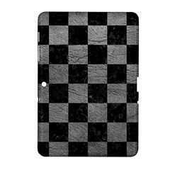 Square1 Black Marble & Gray Leather Samsung Galaxy Tab 2 (10 1 ) P5100 Hardshell Case