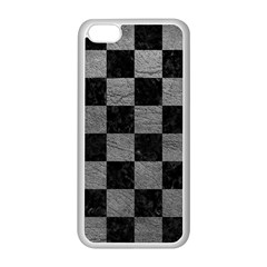Square1 Black Marble & Gray Leather Apple Iphone 5c Seamless Case (white)