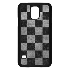 Square1 Black Marble & Gray Leather Samsung Galaxy S5 Case (black)
