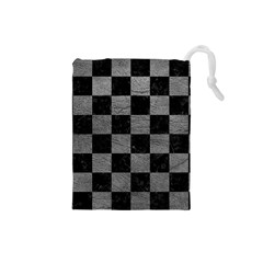 Square1 Black Marble & Gray Leather Drawstring Pouches (small)