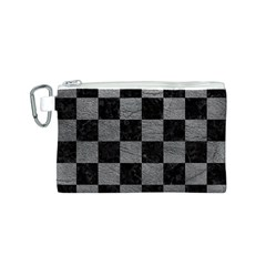 Square1 Black Marble & Gray Leather Canvas Cosmetic Bag (s)