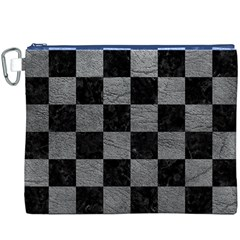 Square1 Black Marble & Gray Leather Canvas Cosmetic Bag (xxxl)
