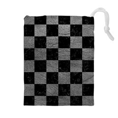 Square1 Black Marble & Gray Leather Drawstring Pouches (extra Large)