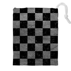 Square1 Black Marble & Gray Leather Drawstring Pouches (xxl)