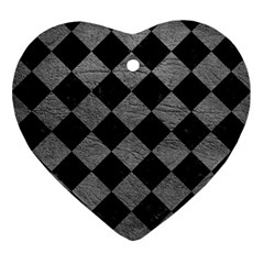 Square2 Black Marble & Gray Leather Ornament (heart)