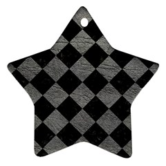 Square2 Black Marble & Gray Leather Ornament (star)