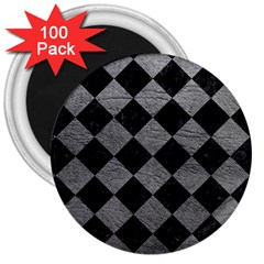 Square2 Black Marble & Gray Leather 3  Magnets (100 Pack)