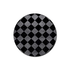 Square2 Black Marble & Gray Leather Rubber Round Coaster (4 Pack)