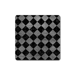 Square2 Black Marble & Gray Leather Square Magnet