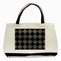 Square2 Black Marble & Gray Leather Basic Tote Bag (two Sides)