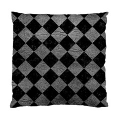 Square2 Black Marble & Gray Leather Standard Cushion Case (two Sides)