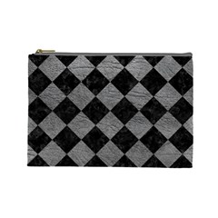 Square2 Black Marble & Gray Leather Cosmetic Bag (large)