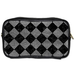 Square2 Black Marble & Gray Leather Toiletries Bags