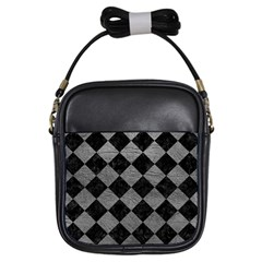 Square2 Black Marble & Gray Leather Girls Sling Bags