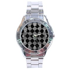 Square2 Black Marble & Gray Leather Stainless Steel Analogue Watch