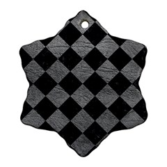 Square2 Black Marble & Gray Leather Ornament (snowflake)