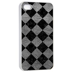 Square2 Black Marble & Gray Leather Apple Iphone 4/4s Seamless Case (white)