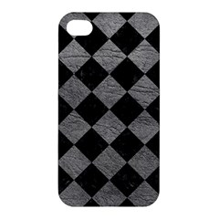 Square2 Black Marble & Gray Leather Apple Iphone 4/4s Hardshell Case