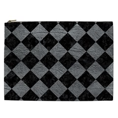 Square2 Black Marble & Gray Leather Cosmetic Bag (xxl)