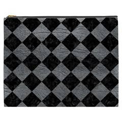 Square2 Black Marble & Gray Leather Cosmetic Bag (xxxl)