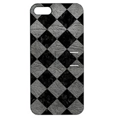 Square2 Black Marble & Gray Leather Apple Iphone 5 Hardshell Case With Stand