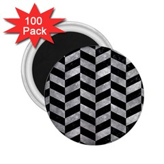 Chevron1 Black Marble & Gray Metal 2 2 25  Magnets (100 Pack)