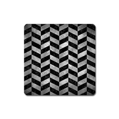 Chevron1 Black Marble & Gray Metal 2 Square Magnet