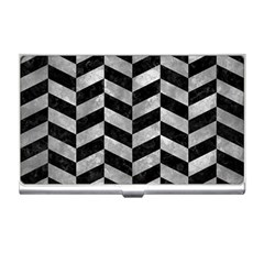 Chevron1 Black Marble & Gray Metal 2 Business Card Holders