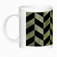 Chevron1 Black Marble & Gray Metal 2 Night Luminous Mugs