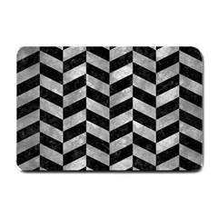 Chevron1 Black Marble & Gray Metal 2 Small Doormat
