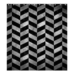 Chevron1 Black Marble & Gray Metal 2 Shower Curtain 66  X 72  (large)