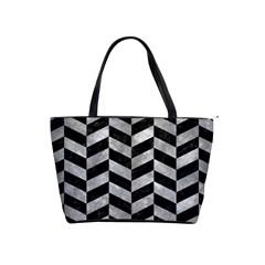 Chevron1 Black Marble & Gray Metal 2 Shoulder Handbags