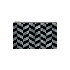 Chevron1 Black Marble & Gray Metal 2 Cosmetic Bag (small)