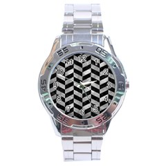 Chevron1 Black Marble & Gray Metal 2 Stainless Steel Analogue Watch